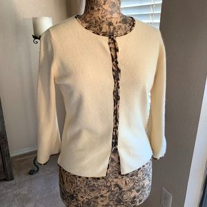 Banana Republic Yellow Cardigan || Leopard Lining